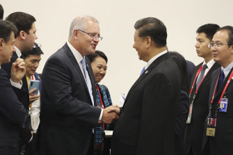 Prime Minister Scott Morrison and Chinese President Xi Jinping at the G20 in Osaka in June.