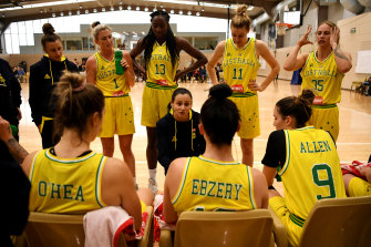 Straight shooter: Opals and WNBA coach Sandy Brondello, centre, talks to Australian national team players.