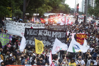 People in Sao Paulo protest the killing of Joao Alberto Silveira Freitas which came on the eve of National Black Consciousness Day in Brazil.