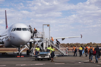 BHP employees at Newman airport in the Pilbara