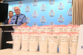 WA Police Commissioner Chris Dawson and Police Minister Paul Papalia with a large drug haul.