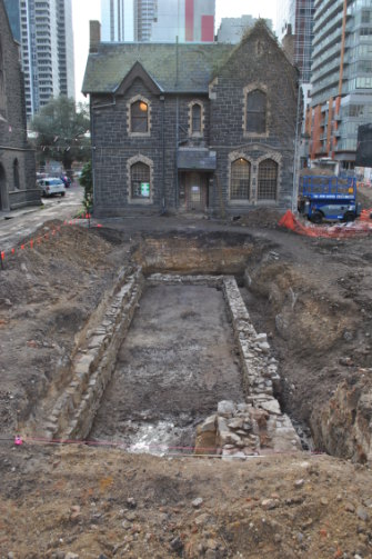Foundations of a school exposed under the manse at the Wesley Church site (Lonsdale Street)