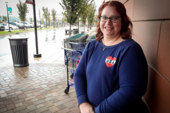 """I don't like his boasting."" Whole Foods shopper Amy Russo votes Democrat."