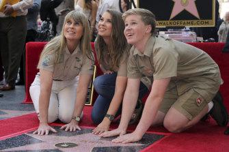 Terri Irwin, Bindi Irwin and Robert Irwin with the star honouring Steve Irwin on the Hollywood Walk of Fame on April 26, 2018.