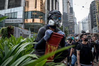 A pro-democracy protester in Hong Kong on Sunday afternoon.