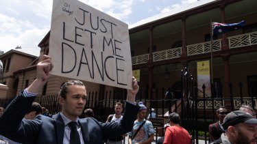 A Keep Sydney Open rally outside NSW Parliament House on Thursday.