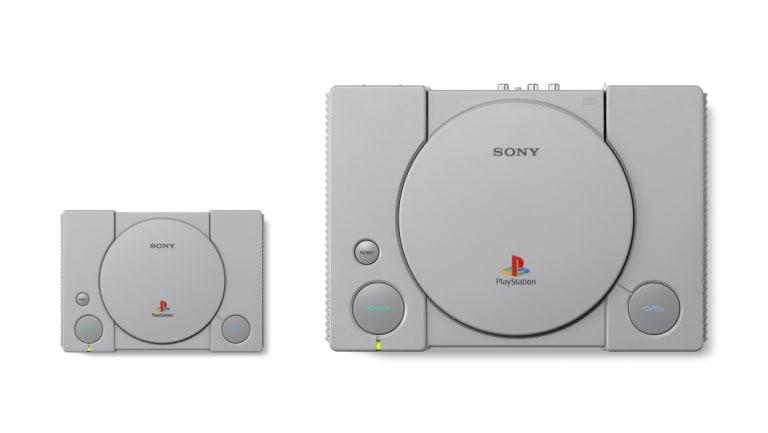 The PlayStation Classic, alongside the 1994 original.