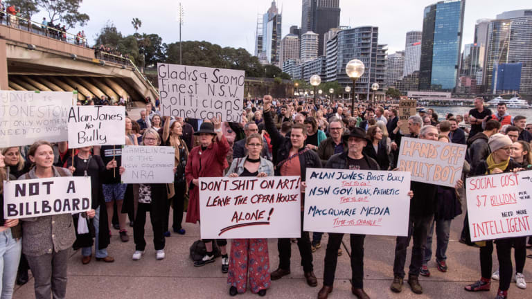 Protesters rallying against the use of the Opera House as a billboard on Tuesday.