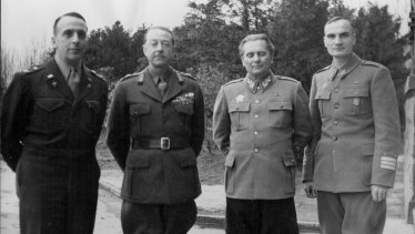 February 1945: Tito, second from right, with (from left) US General Lyman Lemnitzer and British Field Marshal Lord Alexander at the White Palace in Belgrade. The Cold War put an end to this alliance.