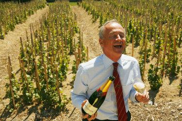 Former head of Bollinger Ghislain de Montgolfier  in the vineyards in pre-pandemic days.