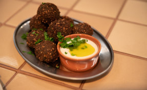The falafels with green goddess tahini and pickles, are a result of three months of trial and error in the kitchen.