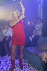 Skye in full flight as she serenaded husband David Leckie last Saturday night.
