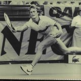 Peter McNamara stretches for a passing shot in a Davis Cup match in March  1986.