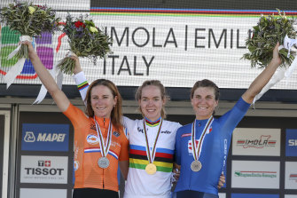 Anna van der Breggen, centre, on the podium with Annemiek van Vleuten, left, and Elisa Longo Borghini, right, at the UCI Road World Championships.