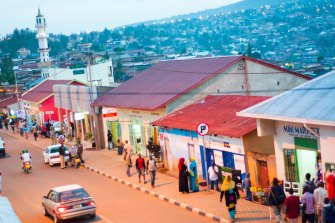 The streets of Kigali, the capital of Rwanda in central Africa.