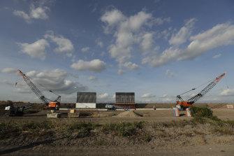 A border wall construction site along the US-Mexico border in Donna, Texas.