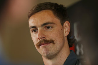 Returning forward Joe Daniher at Essendon on Thursday.