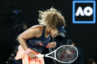 Naomi Osaka was all business during her win over American Jennifer Brady in the final on Saturday night.