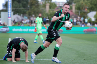 Western United's Besart Berisha celebrates a goal during round 16.