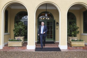 Prime Minister Scott Morrison leaves The Lodge in July after two weeks in quarantine following an overseas trip.