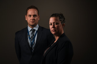 Child sexual abuse investigators. Detective Senior Constable Jason Regan and Detective Senior Constable Emma O'Rourke.