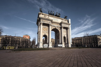 A deserted Arco della Pace in Milan on Thursday.