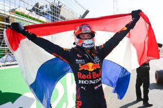 Max Verstappen celebrates winning the Dutch Grand Prix.
