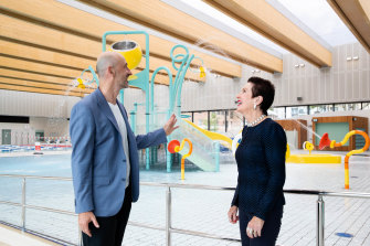 Proud achievement: Clover Moore with architect Andrew Burges at the Gunyama Park and Aquatic Centre in Zetland.
