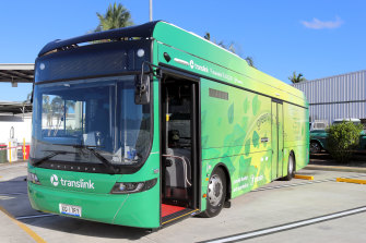 Transdev's new E-Bus took to the streets of Brisbane on Monday