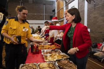 The Premier spent the morning serving breakfast to RFS volunteers.