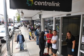Centrelink queues stretched hundreds of metres.