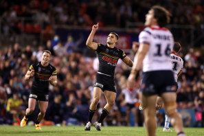 Nathan Cleary celebrates the late field goal which all but guaranteed his Panthers a preliminary final spot.