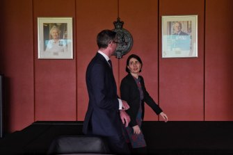 Premier Gladys Berejiklian and Treasurer Dominic Perrottet on Wednesday.