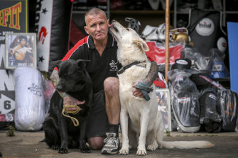 Former prison officer Paul O'Sullivan with his German Shepherds Gypsy (left) and Sultan (right).