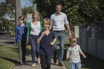 """""""We are a party of the suburbs now."""" Chris Minns with wife Anna and sons (left to right) Joe, Nick and George."""