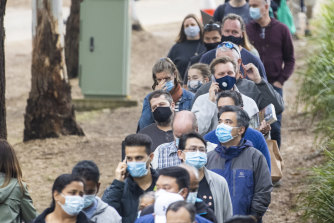 Queues at a vaccination centre in Homebush, Sydney, in early July.