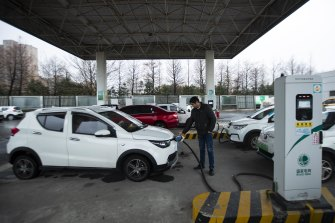 An electric car-charging station in Taizhou, East China's Jiangsu province.