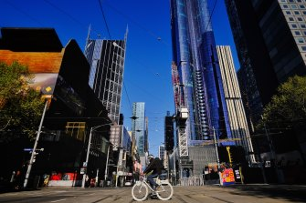 The empty streets of Melbourne on Grand Final eve.