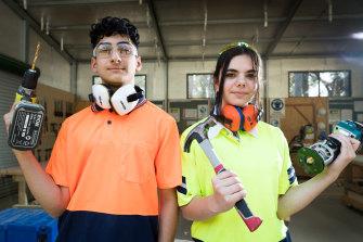 Isha Akbari Jamarani and Amanda Danial are both studying construction for their HSC.