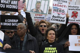 Demonstrations continued outside the Capitol building during the President's Senate impeachment trial.