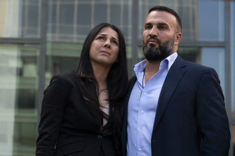 Daniel and Leila Abdallah arriving at Parramatta Court for the sentencing of Samuel William Davidson on Friday.