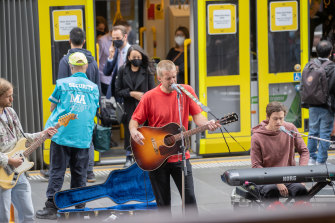 The Rubens busking in Bourke Street mall on Friday.