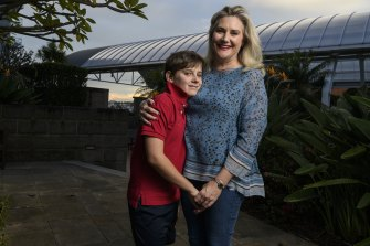 Senator Hollie Hughes, with her son, Fred, 11.