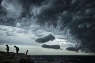 A shelf cloud forms over Ben Buckler.