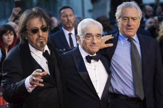 Martin Scorsese, centre, with stars Al Pacino, left, and Robert De Niro at the premiere of The Irishman in London on Sunday.