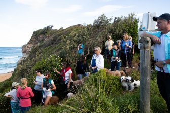 Mitch Geddes, right, along with other dog owners, has been lobbying for an off leash area on Mona Vale Beach for years.
