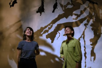 Artists Michaelie Crawford and Jennifer Turpin with their installation Seaweed Arboretum. The work is part of Australia's first seaweed festival, which started at Manly Art Gallery and Museum on Friday.