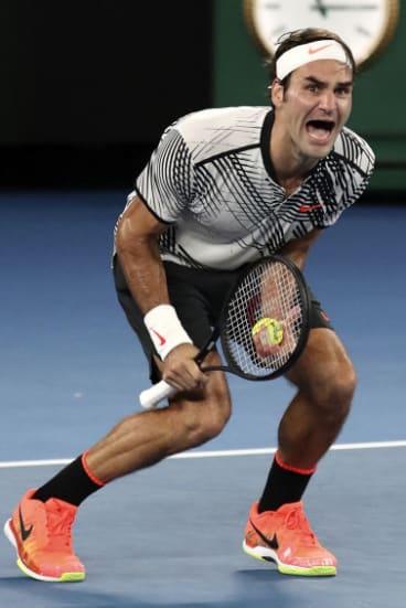 Elation: Federer after match point.