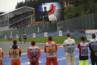 A television shows Formula 2 driver Anthoine Hubert prior to the start of the Belgian Formula One Grand Prix in Spa-Francorchamps on Sunday.