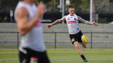 Selection hope: Collingwood midfielder Dayne Beams at training.
